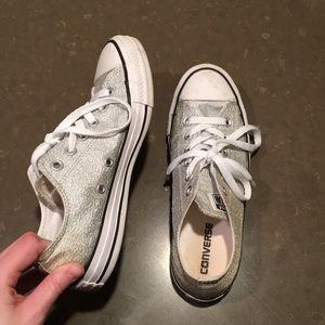 Silver sparkly converse all star